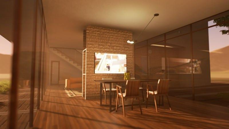 Render foto realistico che mostra una vista della zona pranzo del progetto di una casa di campagna