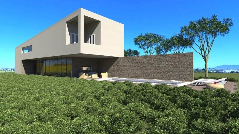 Render foto realistico che mostra una veduta di prospettiva sul giardino del progetto di una casa di campagna