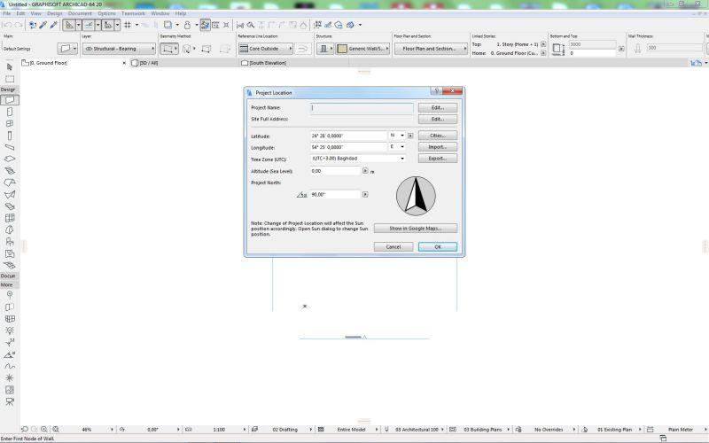 """schermata di archicad che mostra il dialog """"Project location"""" dove è possibile inserire le coordinate"""