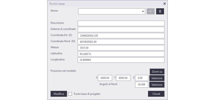 """Schermata di Tekla che mostra il dialog del """"Punto base"""" dove è possibile inserire le coordinate"""