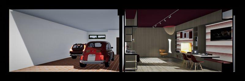 Render foto realistico che mostra una sezione prospettica che mette a paragone il prima e il dopo da garage ad appartamento relativo al progetto di come trasformare un garage in appartamento