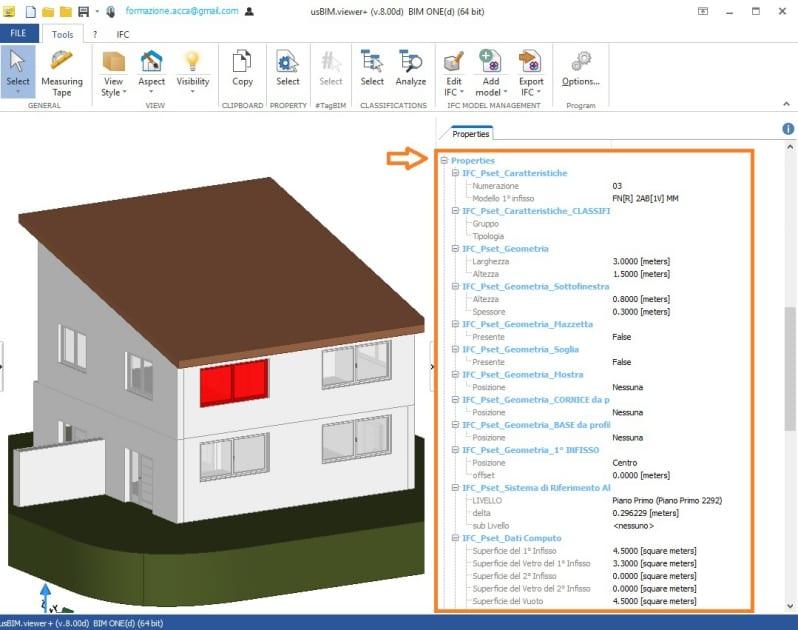 Immagine che mostra come visualizzare l'ifcPropertySet in usBIM.viewer+