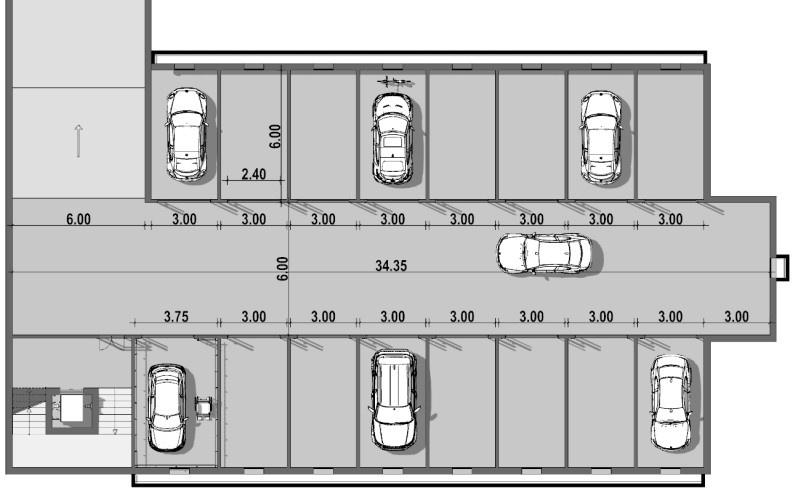 pianta del progetto di un garage con le relative misure