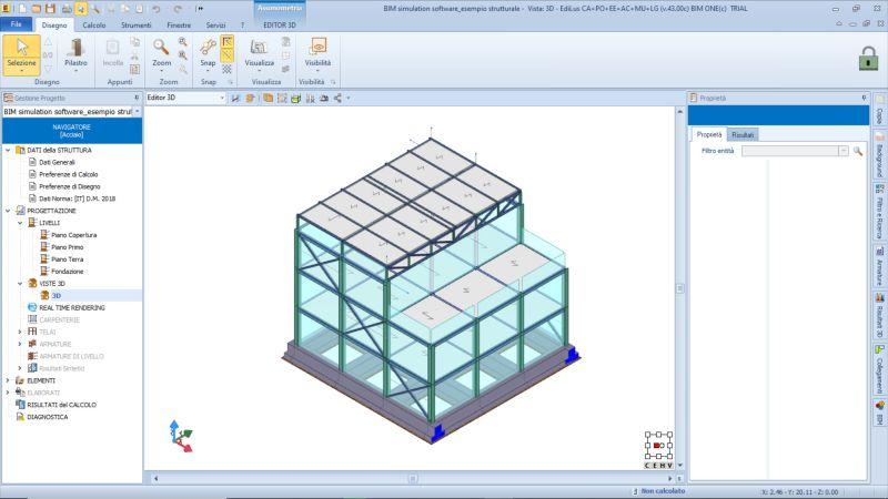 Immagine a colori che rappresenta il modello strutturale di un edificio realizzato con EdiLus