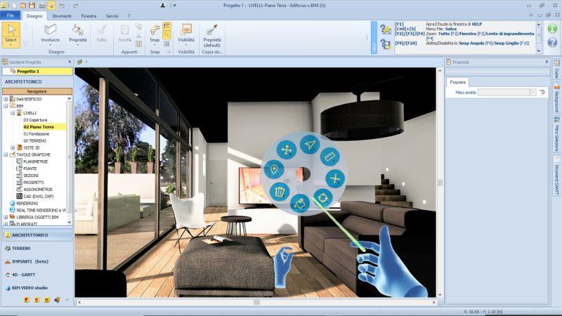 Immagine a colori che rappresenta la visualizzazione della VR nell'interfaccia di Edificius