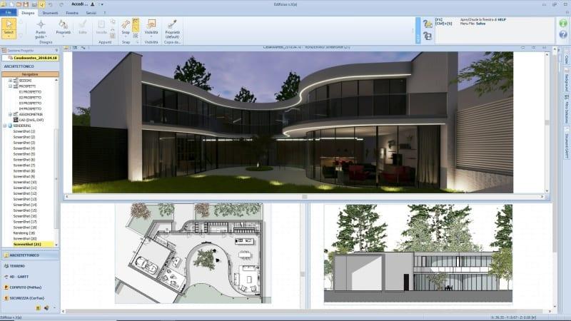 A imagem mostra algumas pranchas graficas e renderizacoes realizadas com Edificius, o software BIM para arquitetura