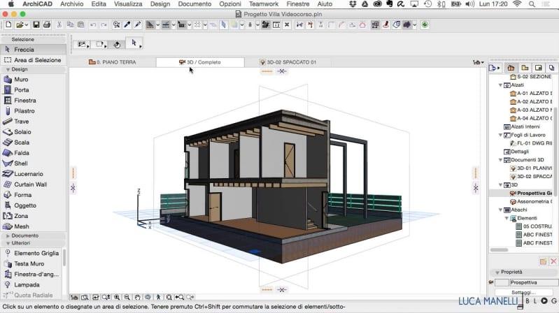 Immagine che mostra l'nterfaccia di Archicad, il software BIM per l'architettura