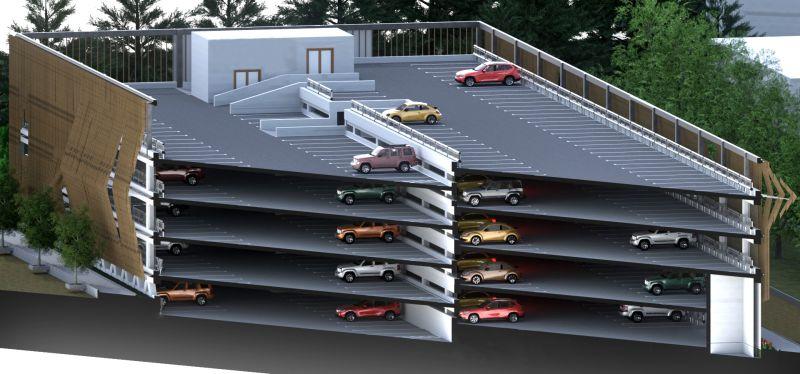 Immagine che mette in evidenza uno spaccato assonometrico del parcheggio multipiano, attraverso un render realizzato con Edificius