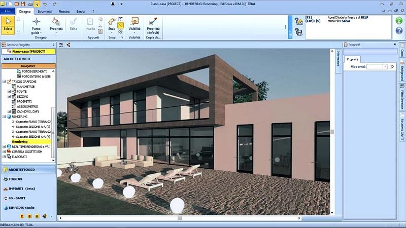 Immagine a colori che mostra un render relativo al progetto di ampliamento con il Piano casa