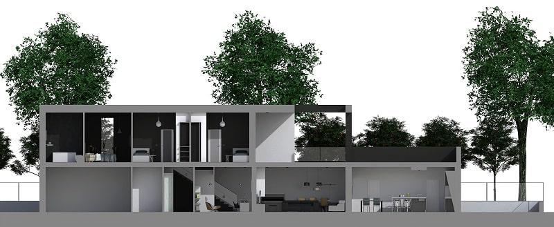 Immagine a colori che riporta l'esempio di un progetto realizzato con il Piano casa