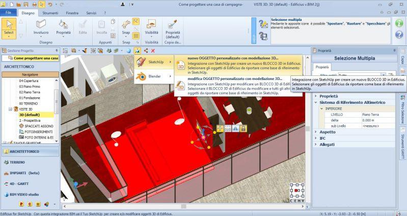 Immagine che mostra l'integrazione tra Edificius BIM 2(j) e SketchUp 2020