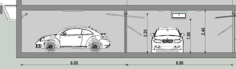Sezione trasversale che mostra un intero modulo e il percorso di uscita delle auto con le rispettive misure