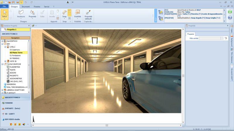 Visualizzazione della zona interna del progetto di un garage a box