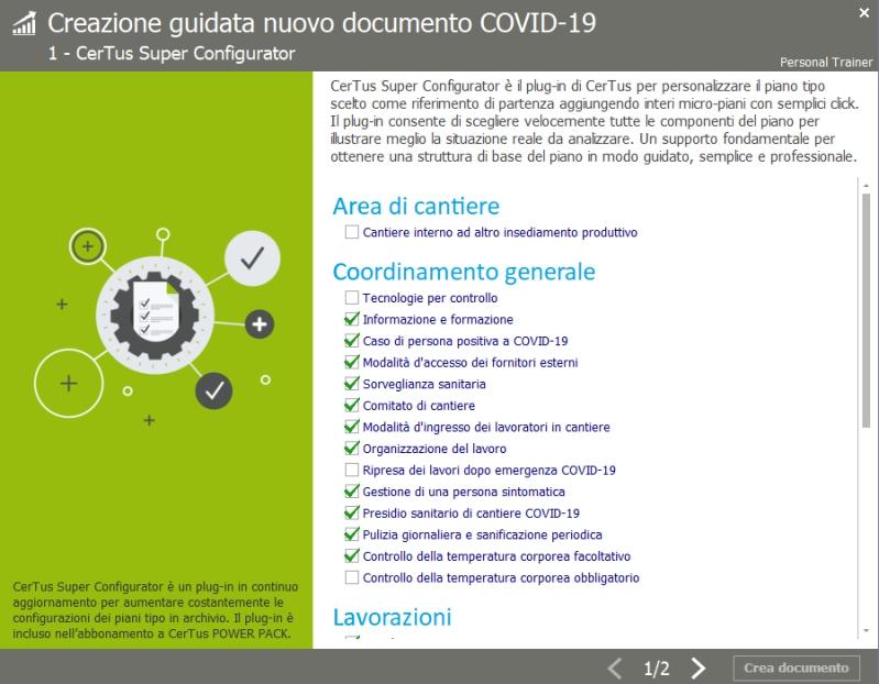 certus covid-19 - configuratore