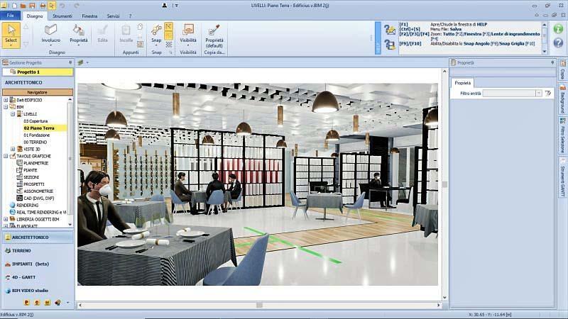 Immagine a colori che mostra un render sviluppato con Edificius illustrante una vista della sala ristorazione