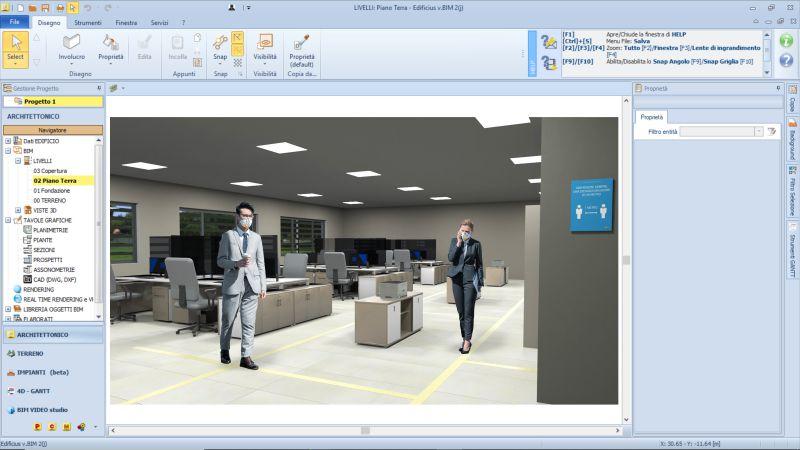 Immagine che mette in evidenza l'organizzazione dell'open space dell'ufficio realizzato con Edificius
