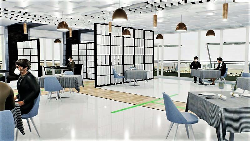 Immagine a colori che mostra un render sviluppato con Edificius relativo alla sala ristorazione
