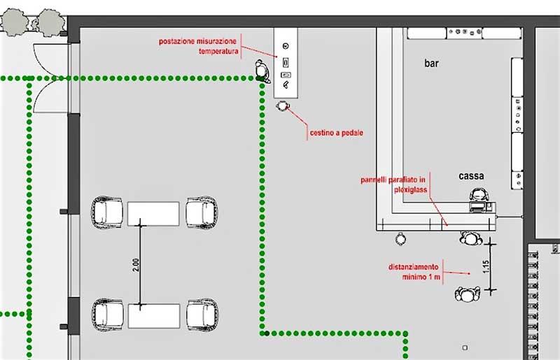 Immagine che mostra in pianta il particolare particolare della zona ingresso / bar / cassa di un ristorante