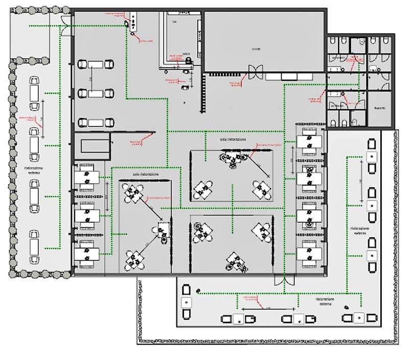 Immagine che mostra la planimetria di progetto di un ristorante per la mitigazione del rischio contagio