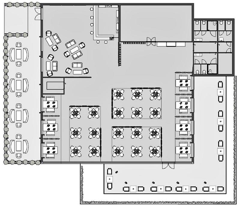 Immagine che mostra la planimetria dello stato di fatto di un ristorante