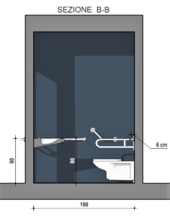 progetto bagno disabili - sezione B-B