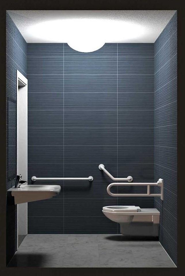 sezione renderizzata di un bagno per disabili - Edificius