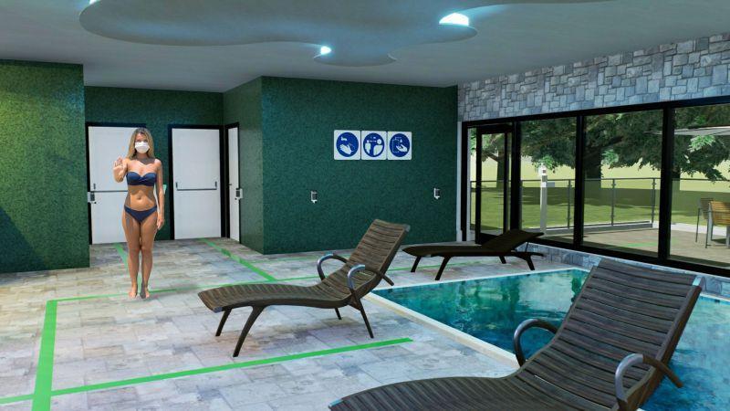 Immagine che mostra la riorganizzazione dell'area piscina/relax per la riapertura del centro benessere