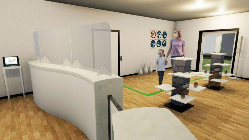 Immagine che mostra la riorganizzazione della zona cassa/reception per la riapertura del centro benessere