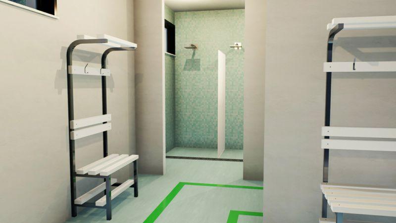 Immagine che mostra la riorganizzazione dello spogliatoio per la riapertura del centro benessere