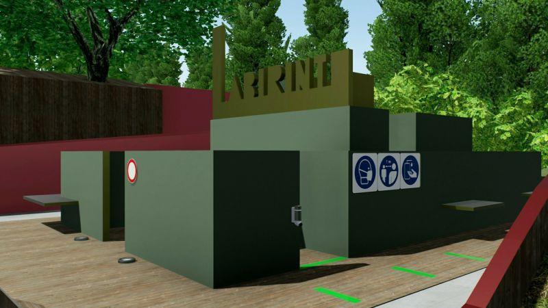 Immagine che mette in evidenza le scelte progettuali che sono state attuate nella zona del labirinto
