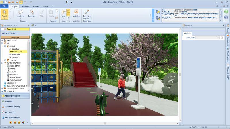 Immagine renderizzata dell'area giochi nell'interfaccia di Edificius