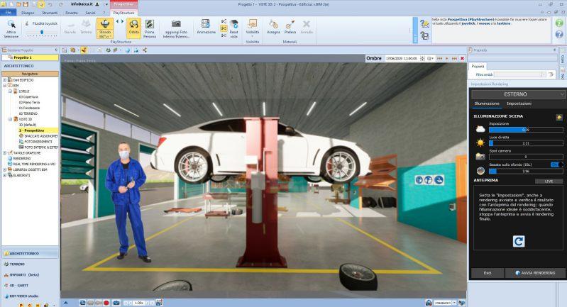 Adeguamento officina meccanica - Render realizzato con Edificius