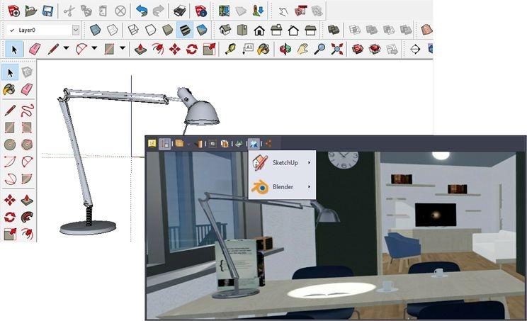 Immagine che mostra come sfruttare l'integrazione tra usBIM.editor e SketchUp