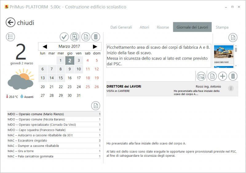 Inserimento dati nel giornale dei lavori - PriMus-PLATFORM