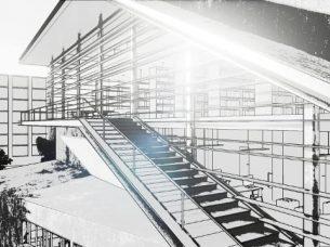 Scala esterna con effetto visuale Daegu Gosan Public Library con Edificius