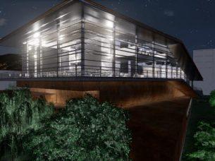 Vista notturna con effetto visuale Daegu Gosan Public Library con Edificius