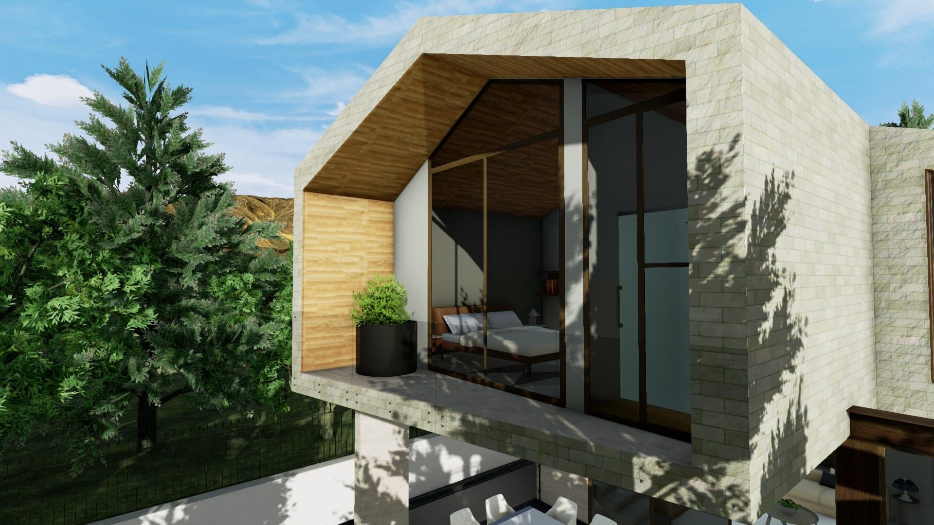 Camera da letto con balcone_software BIM_Edificius