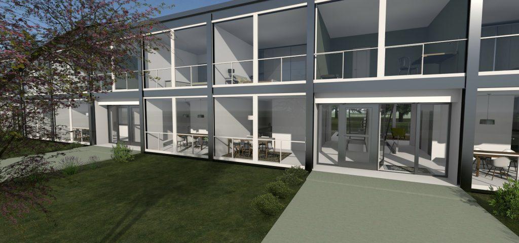 Esempio-di-case-a-schiera-progetto-Lafayette-Park-opera-di-Mies-van-der-Rohe-rendering-realizzato-con-Edificius