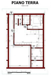 Case a schiera di architetti famosi Quartiere-Malagueira-di-Alvaro-Siza-pianta-piano-terra-di-una-tipologia-di-modulo