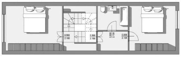 Esempio-modulo-case-a-schiera-pianta-primo-piano-progetto-Passau-Neustift-Opera-di-Schroeder-e-Widmann