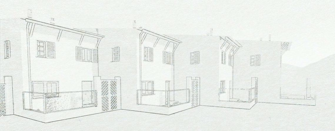Schizzo che rappresenta case a schiera ad affiancamento sfalsato - progetto INA-Casa a Prato dello Stelvio. Opera di B. De Scarpis