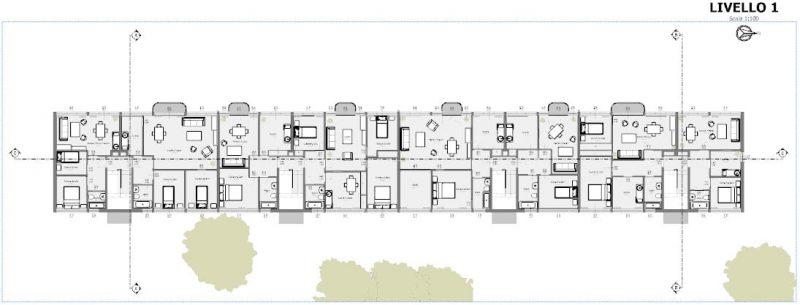 case in linea a Weissenhof - Mies van der Rohe - pianta primo piano del progetto complessivo