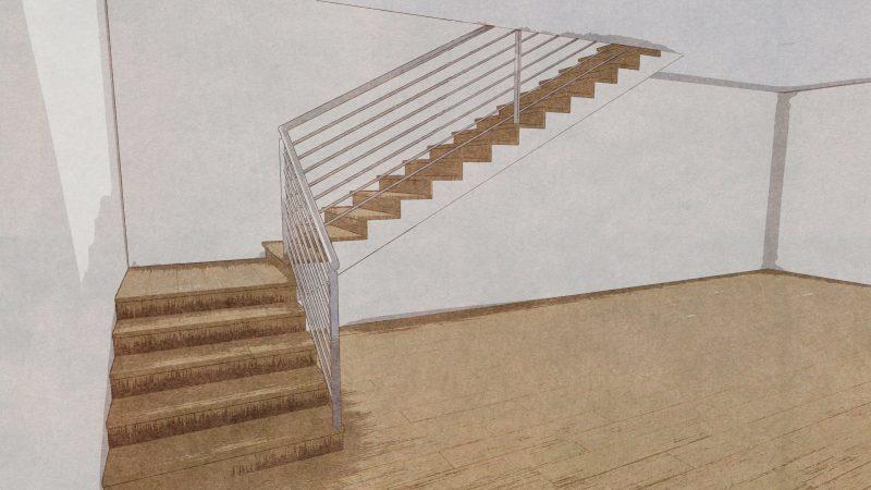 progettazione scale interne - scala a L