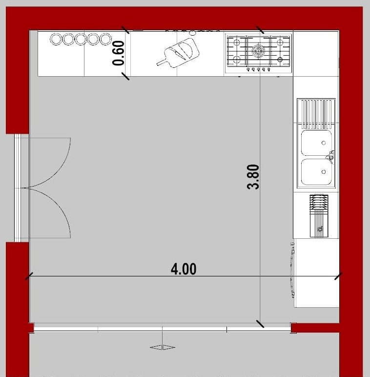 come progettare una cucina _ pianta cucina ad angolo
