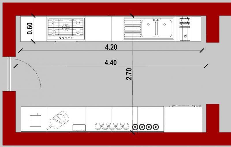 come progettare una cucina _ pianta cucina lineare doppio