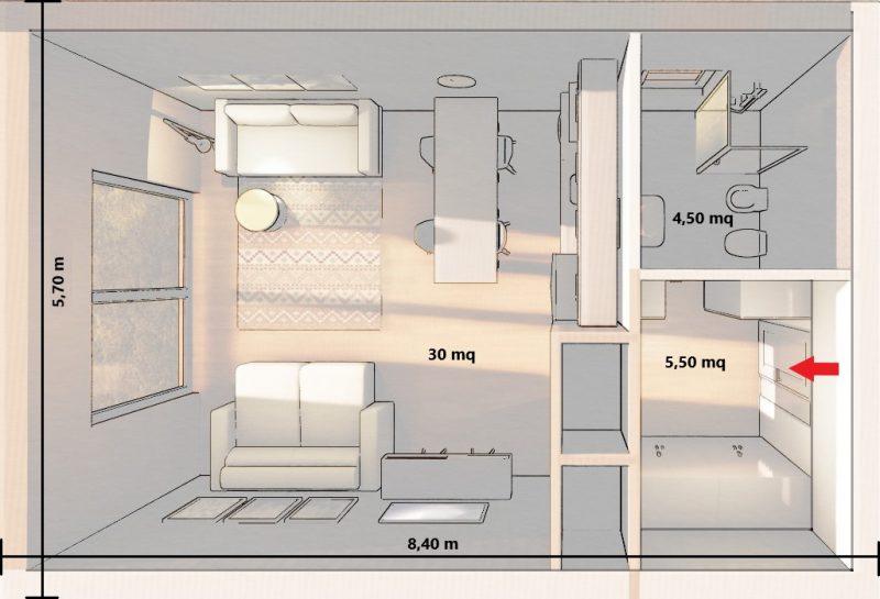 progetto monolocale 40 m²