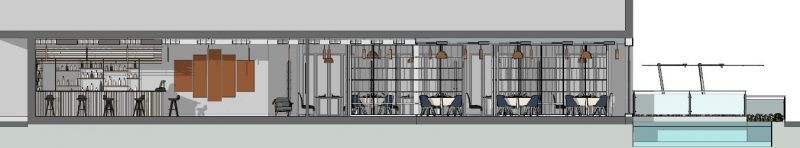 Progetto di un ristorante - sezione B-B