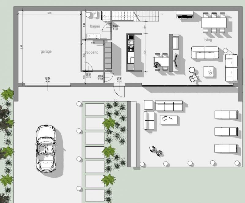 Immagine a colori che mostra la pianta dello stato di fatto di un'abitazione residenziale