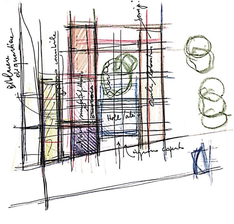 Progettazione di una scuola - Concept design - Ipotesi distribuzione dei blocchi funzionali