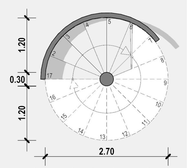 Progetto di una scala a chiocciola - Pianta